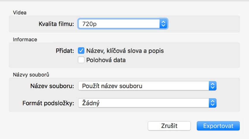 Dialogové okno svolbami pro export videí