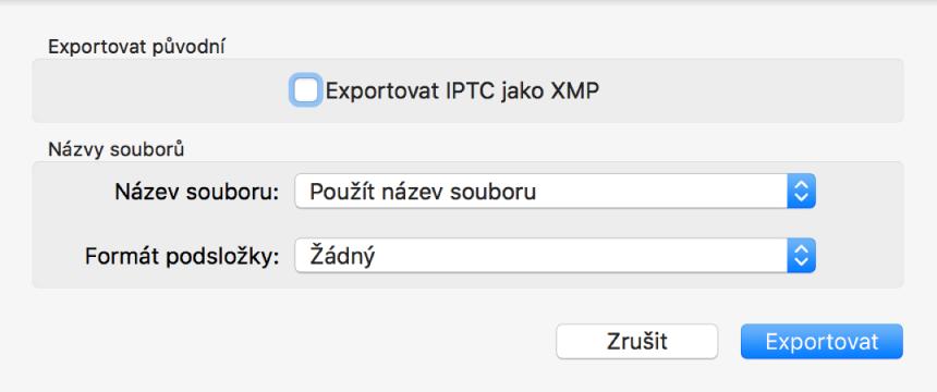 Dialogové okno svolbami pro export souborů fotografií vpůvodním formátu