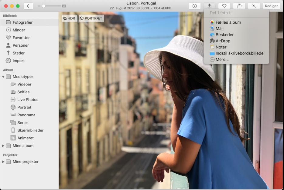 Vinduet Fotos viser et fotografi og menuen Del med kommandoen Fælles album valgt.