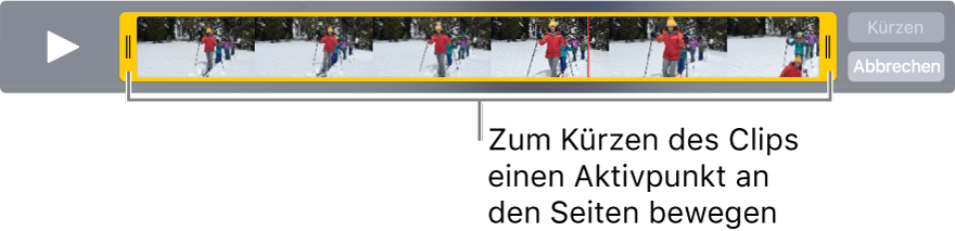 Gelbe Aktivpunkte zum Kürzen eines Videoclips.