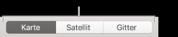 """Tasten """"Karte"""", """"Satellit"""" und """"Gitter"""""""