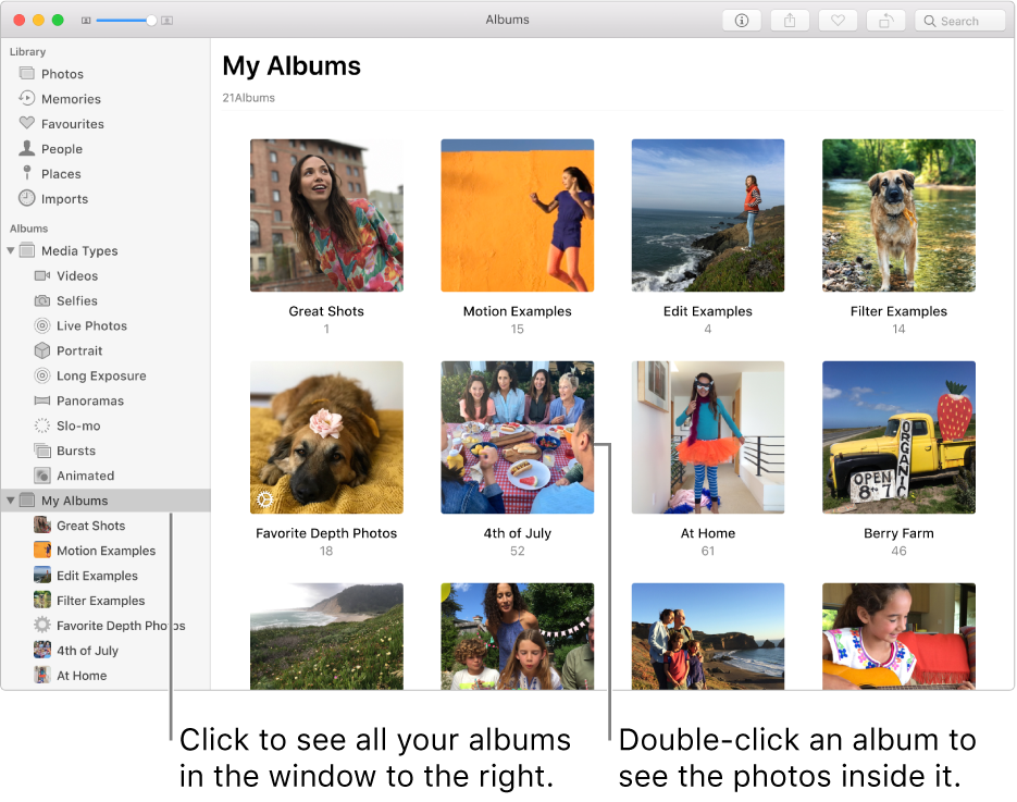 The Photos window with My Albums selected in the sidebar, and the albums you've created displayed in the window to the right.