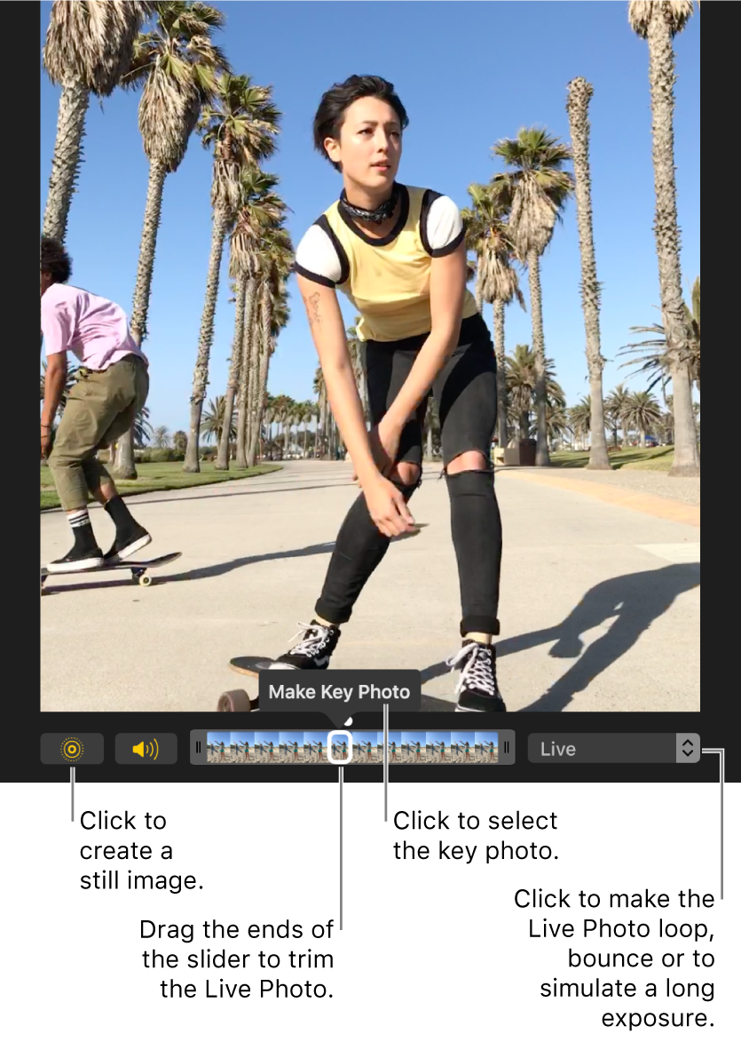 A Live Photo in editing view with a slider beneath it showing the frames of the photo. The Live Photo button and Speaker button are to the left of the slider, and to the right is a pop-up menu you can use to add a loop, bounce, or long exposure effect.