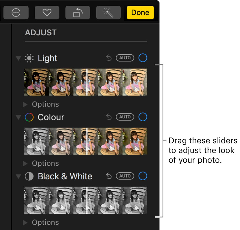 The Light, Colour and Black & White sliders in the Adjust pane. An Auto button appears above each slider.