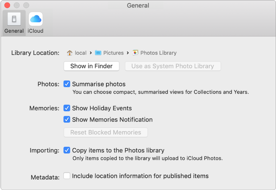 The General pane of Photos preferences.