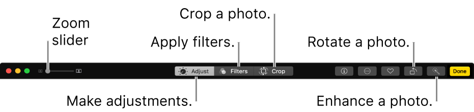 The Edit toolbar showing buttons for making adjustments, adding filters and cropping photos.
