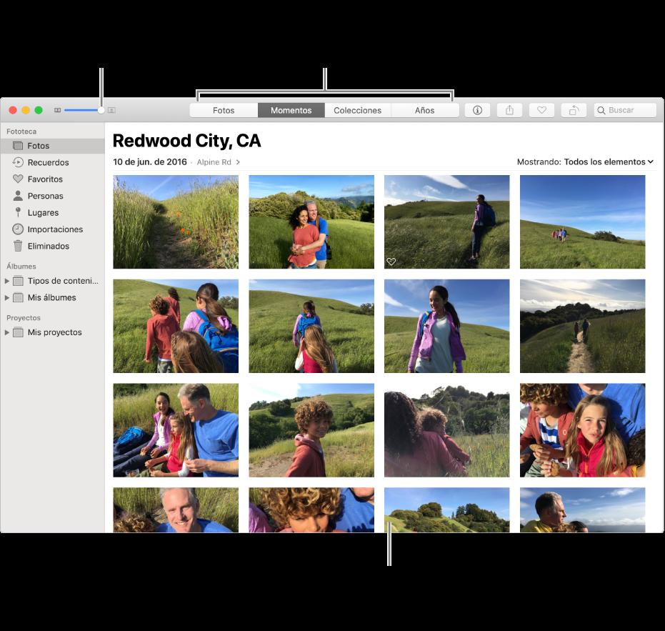 La ventana de Fotos mostrando fotos en un momento.