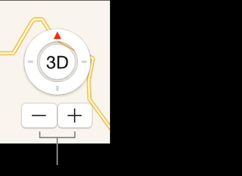 Botones de zoom en el mapa.