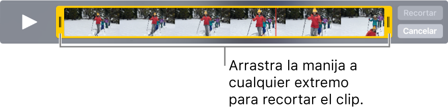 Manijas amarillas de cortado en un video.