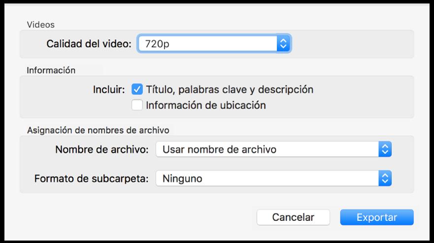 Un diálogo que muestra opciones para exportar videos.