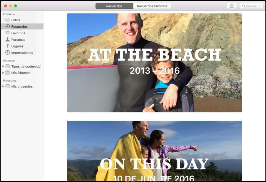 """La ventana de Fotos mostrando """"Recuerdos"""" seleccionado en la barra lateral, y dos recuerdos se muestran a la derecha."""
