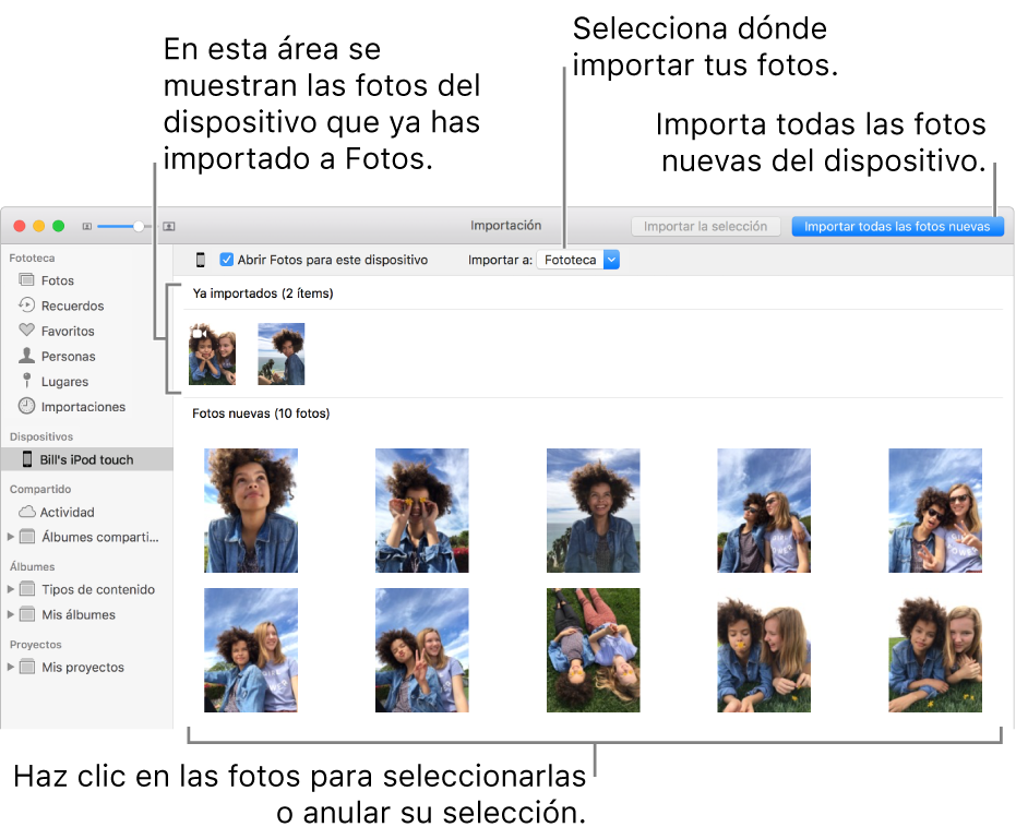"""Las fotos del dispositivo que ya has importado se muestran en la parte superior del panel, y las fotos nuevas en la parte inferior. En la parte superior central se encuentra el menú desplegable """"Importar a"""". El botón """"Importar todas las fotos nuevas"""" está en la parte superior derecha."""