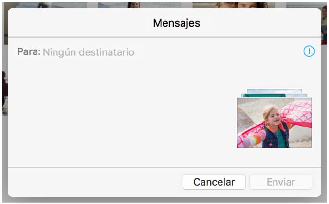 Cuadro de diálogo para añadir destinatarios al compartir fotos desde la app Fotos mediante Mensajes.