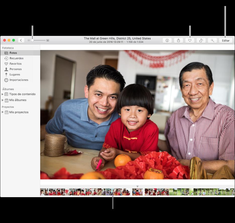 La ventana de Fotos con una foto ampliada a la derecha y una fila de miniaturas debajo. La barra de herramientas de la parte superior incluye el regulador Zoom, el botón Añadir a favoritos y el botón Editar.