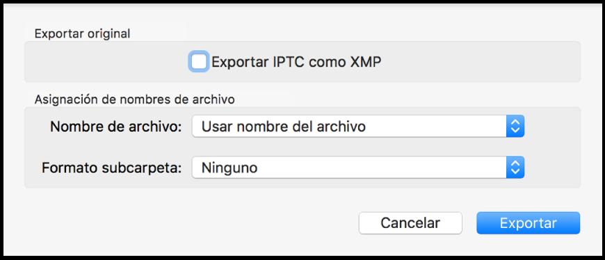 Un cuadro de diálogo en el que se muestran opciones para exportar los archivos de foto en su formato original.