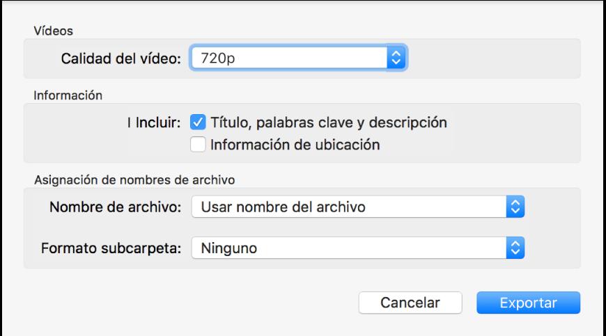 Un cuadro de diálogo en el que se muestran opciones para exportar vídeos.