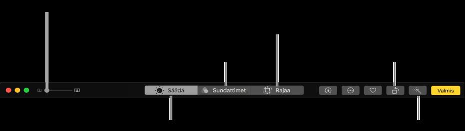 Muokkaa-työkalupalkki, jossa näkyy painikkeet säätöjen tekemiseen, suodattimien lisäämiseen ja kuvien rajaamiseen.
