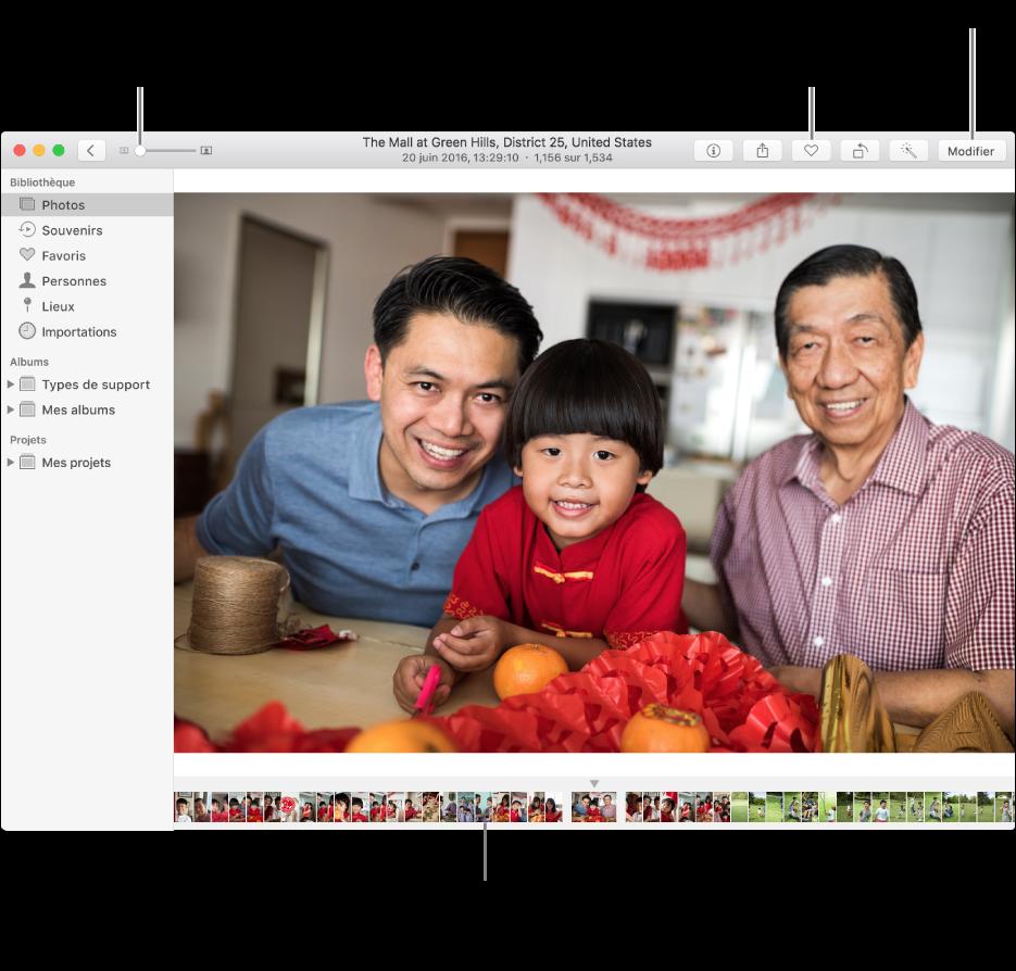 La fenêtre Photos affichant une photo élargie sur la droite avec une rangée de vignettes en dessous. La barre d'outils en haut inclut le curseur Zoom, le bouton Favori et le bouton Modifier.