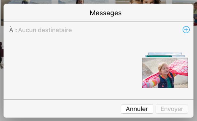 Une boîte de dialogue pour l'ajout de destinataires lors du partage de photos de l'app Photos en utilisant Messages.