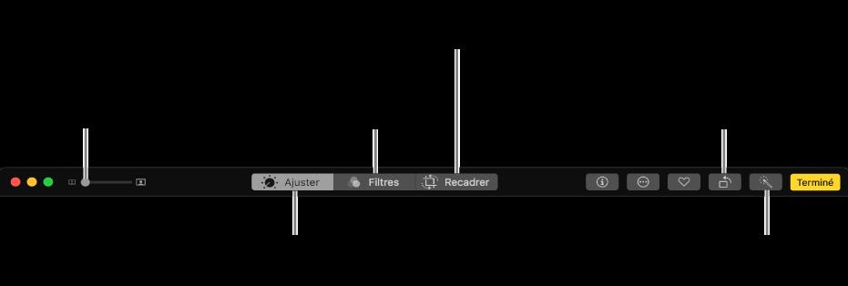 La barre d'outils de modification présentant les boutons pour apporter des ajustements, ajouter des filtres et recadrer des photos.