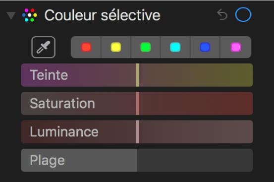 Les commandes Couleur sélective présentant les curseurs Teinte, Saturation, Luminance et Plage.
