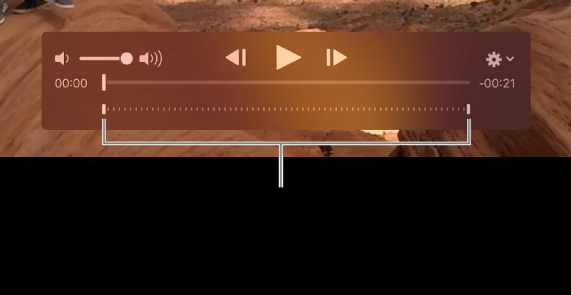 Commandes de ralenti dans un clip vidéo.