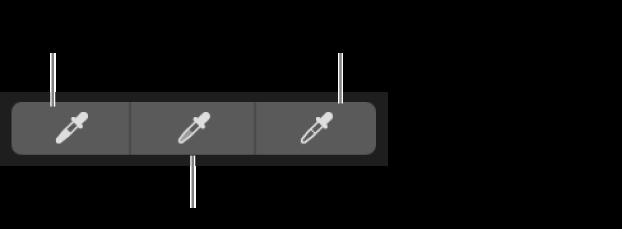 Tri kapaljke koje se upotrebljavaju za odabir crne točke, srednjih tonova i bijele točke fotografije.
