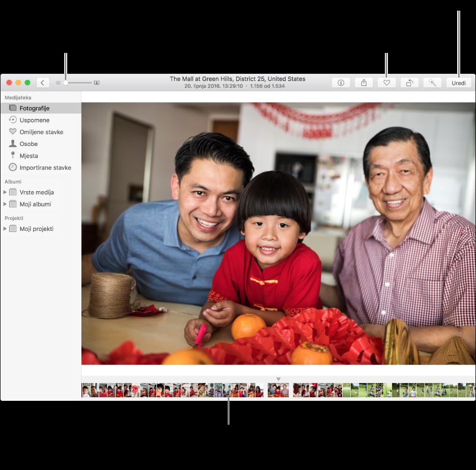 Prozor aplikacije Foto s prikazom uvećane fotografije na desnoj strani i redom minijatura ispod nje. Alatna traka na vrhu uključuje kliznik za zumiranje, tipku Omiljeno i tipku Uredi.