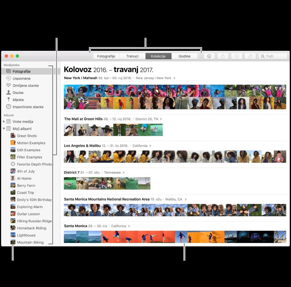 Prozor aplikacije Foto prikazuje fotografije organizirane prema kolekciji.