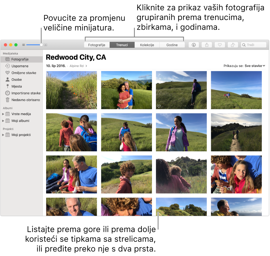 Prozor aplikacije Foto prikazuje fotografije unutar trenutka.