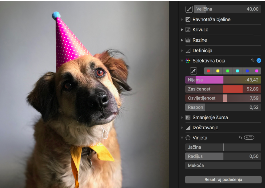 Fotografija nakon prilagodbe selektivne boje.