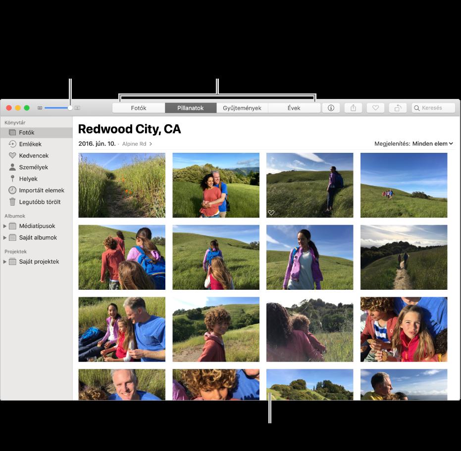 A Fotók ablaka egy pillanat fotóival.