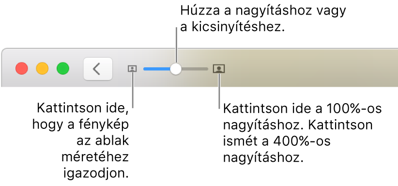 A méretezési vezérlőket megjelenítő eszközsor.
