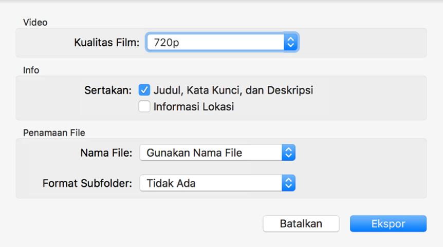 Dialog menampilkan pilihan untuk mengekspor video.
