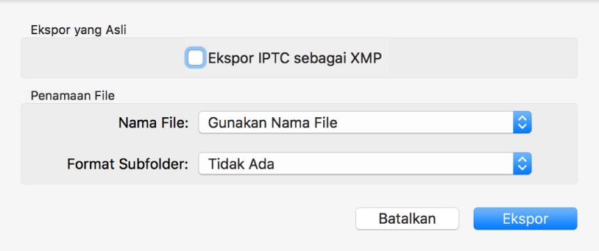 Dialog menampilkan pilihan untuk mengekspor file foto dalam format aslinya.