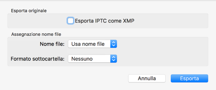Una finestra di dialogo con opzioni per esportare file di foto nel formato originale.