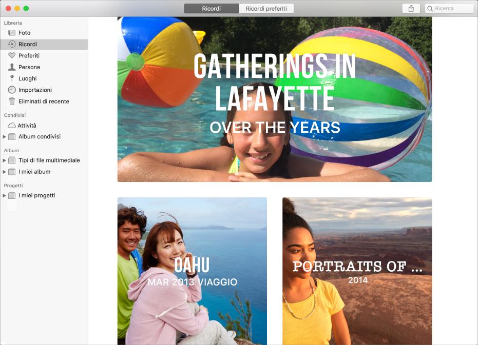 La finestra di Foto con l'opzione Ricordi selezionata nella barra laterale e diversi ricordi visualizzati.