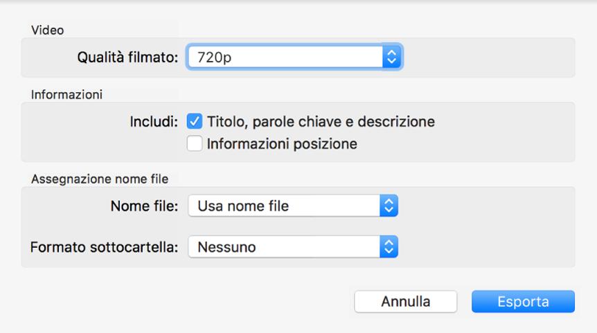 Una finestra di dialogo con opzioni per esportare i video.