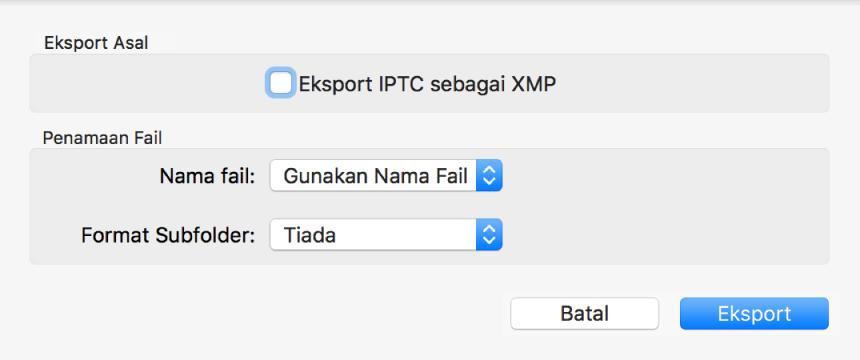 Dialog menunjukkan pilihan untuk mengeksport fail foto dalam format asalnya.