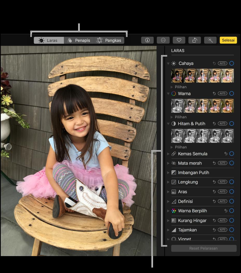 Foto dalam paparan mengedit dengan alat mengedit di sebelah kanan.