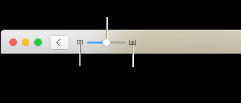 Bar alat menunjukkan kawalan zum.