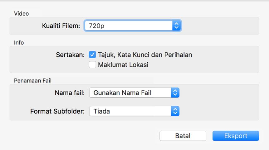 Dialog menunjukkan pilihan untuk mengeksport video.