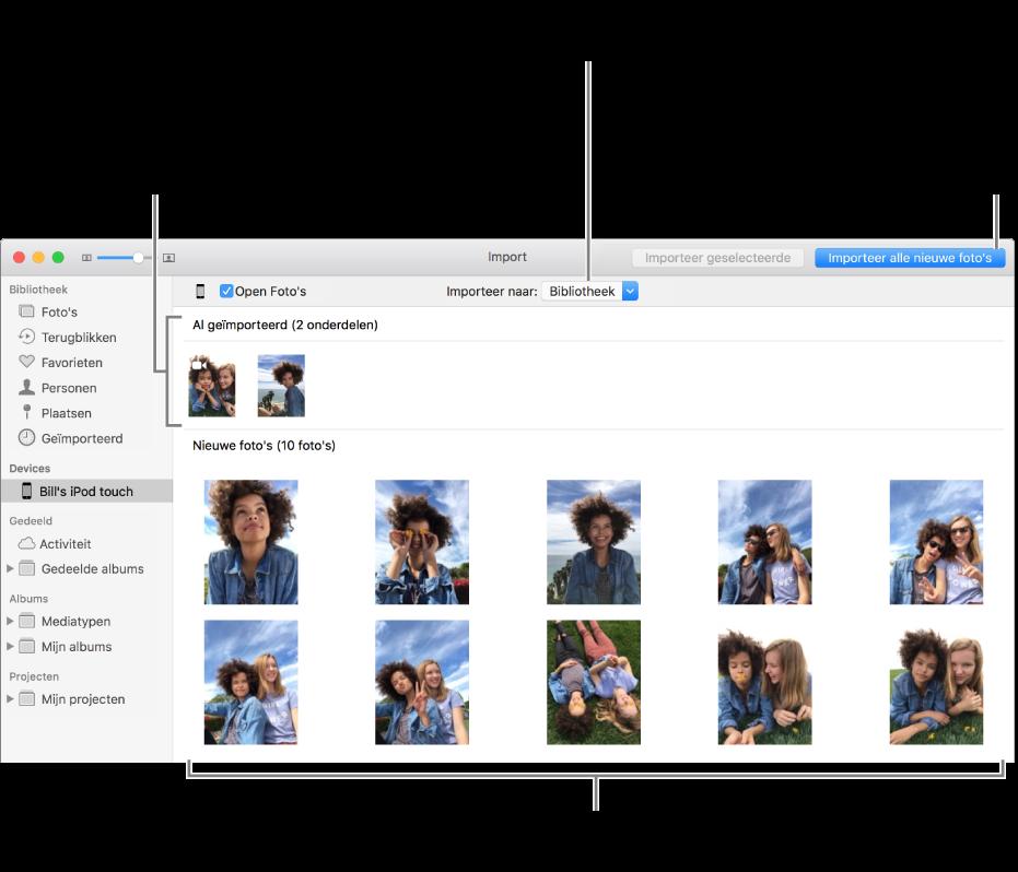 Foto's op het apparaat die je al hebt geïmporteerd, worden boven in het venster weergegeven. Nieuwe foto's worden onderin weergegeven. In het midden bovenin zie je het venstermenu 'Importeer naar'. De knop 'Importeer alle nieuwe foto's' staat rechtsbovenin.