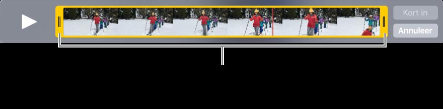 Gele grepen voor het inkorten van een videofragment.