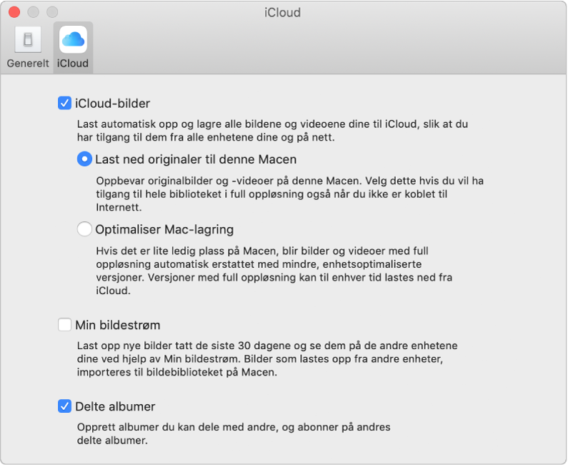 iCloud-panelet i Bilder-valg.
