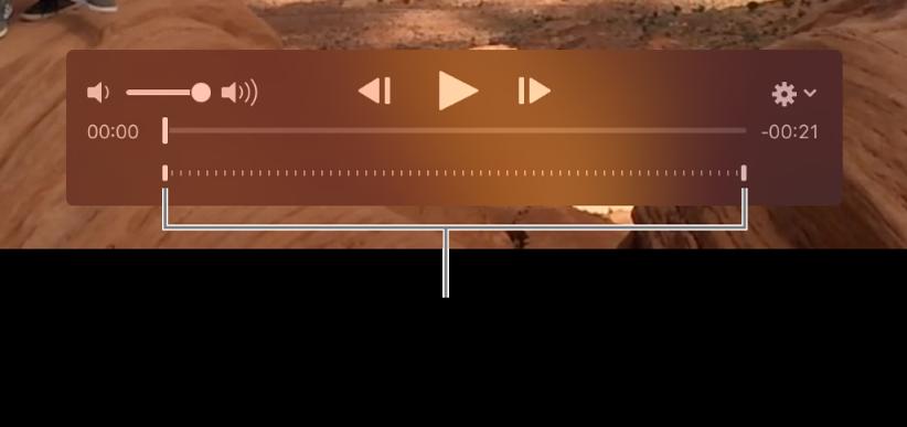 Controles de câmera lenta em um clipe de vídeo.