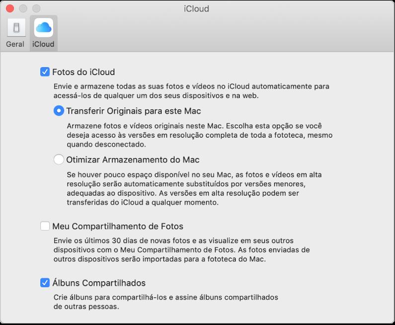 O painel iCloud das preferências do Fotos.