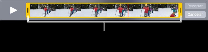 Puxadores de recorte amarelos em um clipe de vídeo.