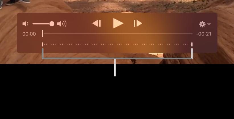 Controlos de câmara lenta num clip de vídeo.