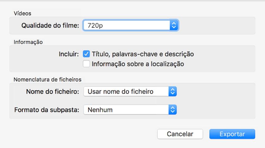 Uma caixa de diálogo a mostrar as opções para exportar vídeos.